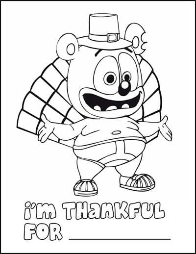 Celebrate Thanksgiving With Gummibär: Enter Thanksgiving Coloring Page Contest To Win A Gummibär Plush Toy