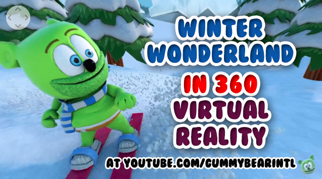 360 animated virtual reality gummibar the gummy bear winter wonderland happy holidays 2017 merry christmas snow snowy first day of winter mountan winter sports fun adorable silly santa claus youtube youtuber cartoon show series character